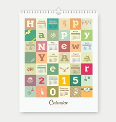 Calendar Happy new year text and colorful square vector image