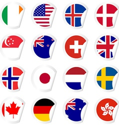Curled corner stickers set with flags of the most vector