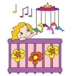 Baby in bed vector