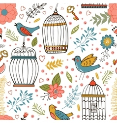 Elegant pattern with flowers bird cages and birds vector