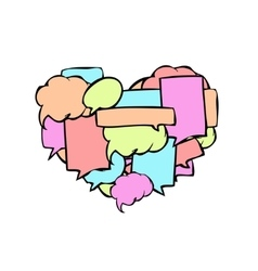 modern speech bubbles in a heart shape vector image