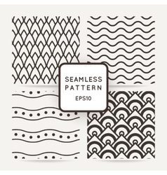 Set of four geometric seamless pattern vector image