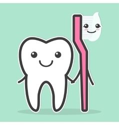 Tooth and toothbrush are best friends vector