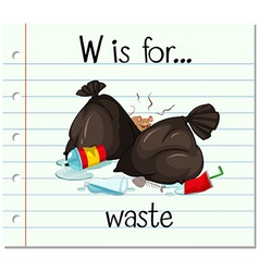 Flashcard letter w is for waste vector