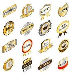 Golden labels collection isometric 3d style vector image
