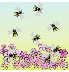 bees and flowers vector image vector image