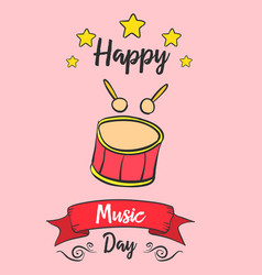 Card of music day doodles vector