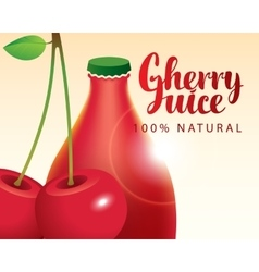 Cherry and bottle juice vector
