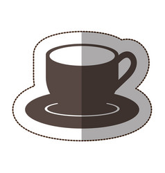 Contour coffee cup and plate icon vector