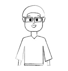 Contour happy man with glasses and shirt vector