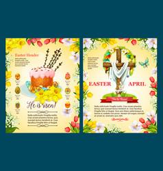 Easter sunday poster template of egg cake cross vector