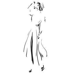 fashion model sketch girls silhouette vector image