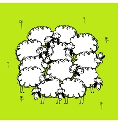 Funny sheeps on meadow sketch for your design vector