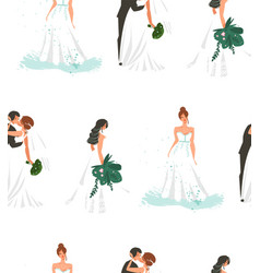 hand drawn abstract cartoon wedding bridals vector image