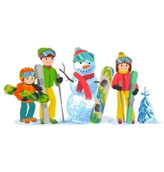 Happy family ski and snowbording with snowman vector image vector image