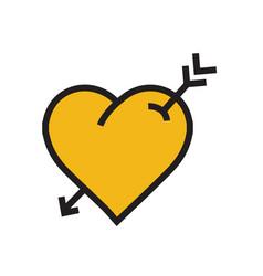 heart arrow icon yellow color vector image