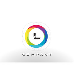 L letter logo with rainbow circle design vector