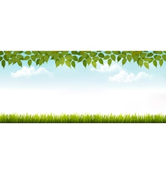 Long white fence banner with grass and leaves vector