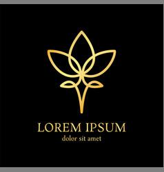 lotus line logo design template vector image vector image