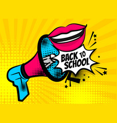 megaphone pop art back to school woman lips vector image vector image