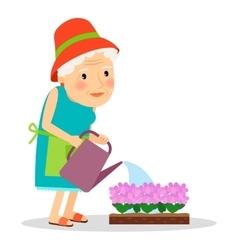Old woman watering flowers vector