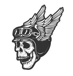 Racer skull in winged helmet isolated on white vector