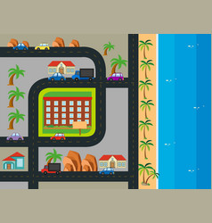 roadmap with building along the beach vector image