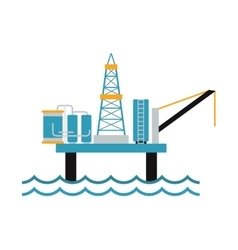 Sea oil rig offshore platform technology flat vector image