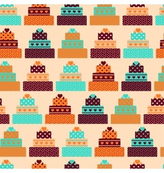 Seamless pattern with cakes in retro style vector image