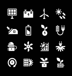 Set icons of alternative energy sources vector image