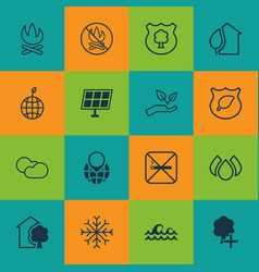 Set of 16 eco-friendly icons includes snow save vector