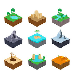 set of isometric game islands cute lake river vector image vector image