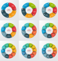 set of pie chart infographic templates vector image