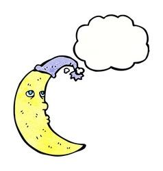 Sleepy moon cartoon with thought bubble vector
