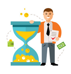 Time is money concept flat style colorful vector