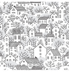 Trees and houses seamless pattern winter vector