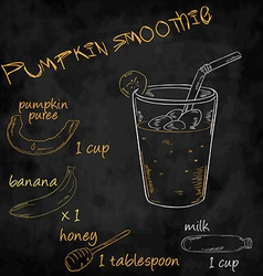 Vegetables smoothie with ingredients list pumpkin vector
