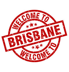 Welcome to brisbane red stamp vector