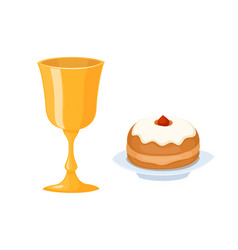 Wine cup used for jewish kiddush shabbat drink vector