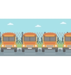 Yellow buses on the background of mesh fence vector image