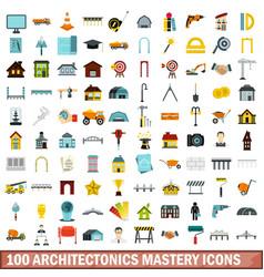 100 architectonics mastery icons set flat style vector image