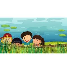 Children peeking vector image