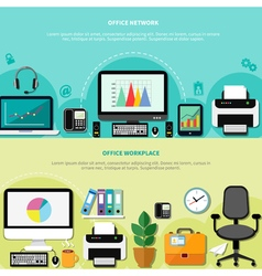Office workplace horizontal banners vector