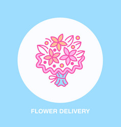 Flower delivery line icon logo for floral vector