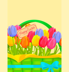happy easter festive concept with tulips vector image