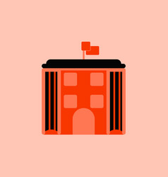 Architecture building and columns with flag vector