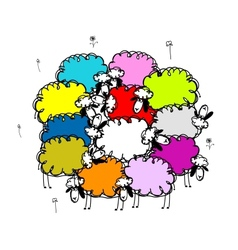 Flock of colored sheeps sketch for your design vector