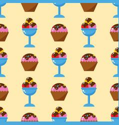 Little delicious cupcakes sweet dessert seamless vector