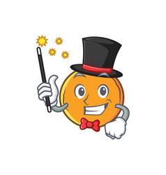 Magician orange fruit cartoon character vector