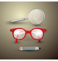 Retro objects glasses pencil magnifying glass vector